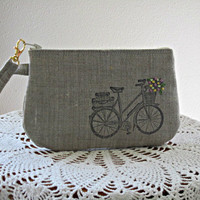 Antiquebasketlady Handstamped Linen Wristlet  Clutch Zipper Gadget Pouch Retro Bicycle Hand Embroidered Made in USA