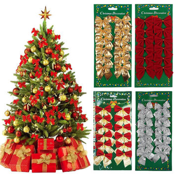 12x Bow Christmas Tree Decoration Xmas Hanging Ornament Bowknot Party Decor CCC