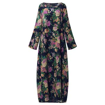 2018 ZANZEA Women Chinese Style Autumn Long Sleeve Vintage Floral Print Cotton Party Long Maxi Dress Baggy Kaftan Vestido L-5XL