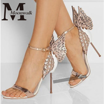 New women shoes pumps wedding high heels butterfly heeled sandals bow party shoes woman Gold Purple 35-40 size X0627