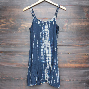 navy and sand tie dye ruffle hem dress