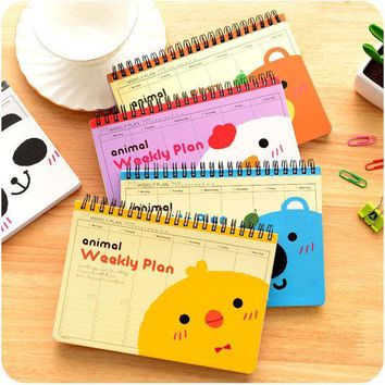 ICIK272 Cute animal Weekly plan Coil spiral Notebook Diary book agenda papelaria caderno escolar stationery office School supplies 5508