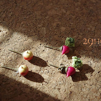 mini apple radish banana egg resin earring jewelry handmade 6