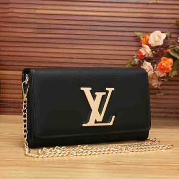 LV Women Simple Bag Shopping Buckle Leather Metal Chain Satchel Shoulder Bag B-LLBPFSH Black