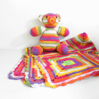 Crochet Baby Blanket with Stuffed Bear Toy, Baby Shower Set