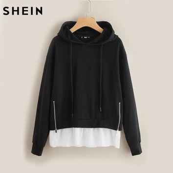 SHEIN Autumn 2017 Women Hoodies Sweatshirts bts O-neck Dual Zip Front Hoodie Black and White Long Sleeve Casual Pullovers