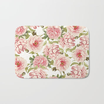 old fashioned peonies Bath Mat by Sylvia Cook Photography