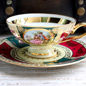 JK Decor Carlsbad China Cup And Saucer Set / Tea Set / Fragonard Lovers / Tea Party / Mother's Day