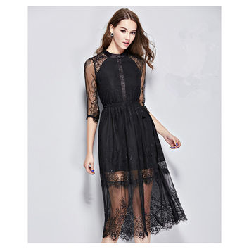 Sexy Women Slim Lace Dress Fashion Hollow Lace Sweet Dress Cocktail Evening Gown Party Dress