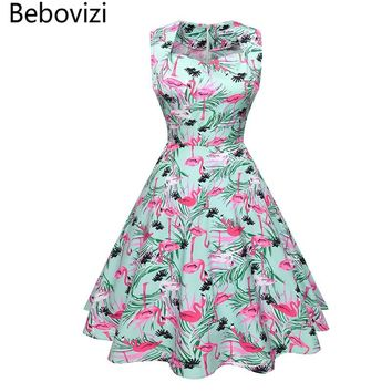Bebovizi 2018 New Vintage Retro 1950s 50s 60s Women's Dress Summer Rockabilly Party Dresses for Female Flamingo Printing Clothes