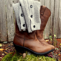 Button Down Open Knit Boot Cuffs