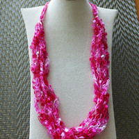 "Pretty in Pink Trellis Ribbon Ladder Yarn  Necklace 18 to 26"" Long"