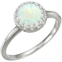 14kt White Gold 8mm Round Australian Opal Crown Ring