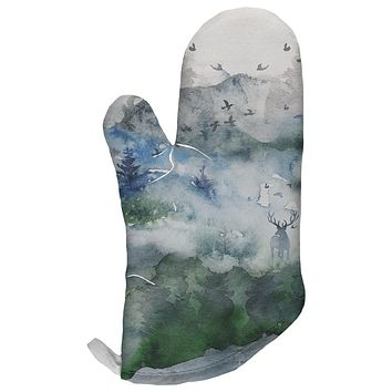 Watercolor Deer in the Mist All Over Oven Mitt
