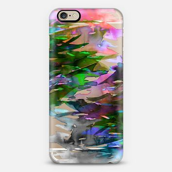 FERVOR 2 Colorful Bold Abstract Watercolor Painting Black Grey Coral Pink Plum Purple Lime Green Aqua Brushstrokes Floral Waves Modern Transparent Hipster Art Rainbow Multicolor Nature Chic  iPhone 6 case by Ebi Emporium   Casetify