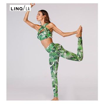 Women Green Leaf Print Two Piece Halter Bra Leggings Set