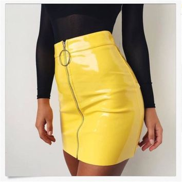 Sexy PU Leather Pencil High Waist Skirt