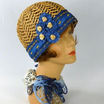Natural Woven Straw Cloche Hat - Vintage Satin and Grosgrain Ribbon - Vintage Woven Straw - Downton Abbey - Gatsby - flapper - 1920s - 1930s