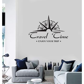 Vinyl Wall Decal Travel Quote Compass Saying Tourism Interior Room Stickers Mural (ig5843)