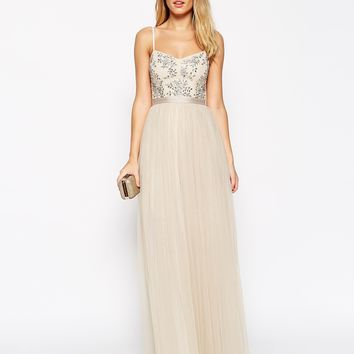 Needle & Thread Embellished Crystal Petal Maxi Dress