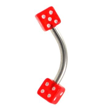 Lucky Red Dice Curved Barbell 16g 5/16""