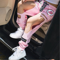 2016 Harajuku Pink Personalized Embroidery BF Big Hole Loose Harem Pants for Summer Casual Trousers Tide Female Hollow 1352