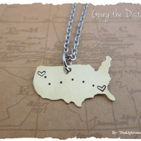 USA Map - Brass - Long Distance Relationship or Friendship Necklace