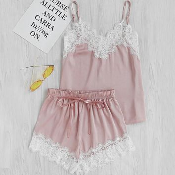 RWL Boutique - Women Sleeping Wear Summer Pajamas Set Lace Trim Satin Spaghetti Strap Cami Top and Shorts