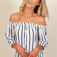 Stripe Me Down Blouse White/Navy