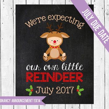 We're expecting a little Reindeer, Christmas pregnancy announcement, Pregnancy chalkboard sign, Christmas photo prop, JULY 2017 DUE DATE