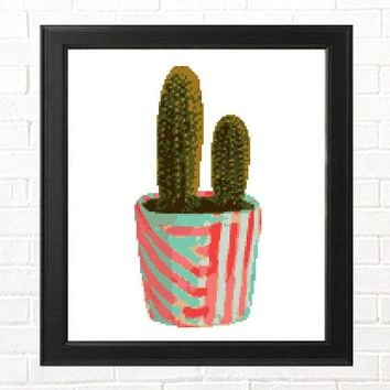 Potted Cactus Cross Stitch Pattern - Modern Succulent Pattern