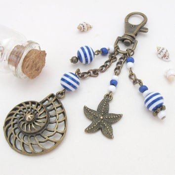 Sailor bronze keychain with navy striped beads and brass nautical charms