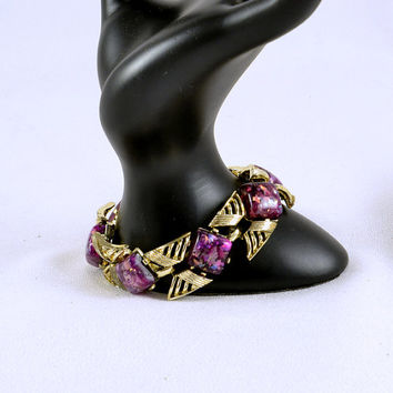 Coro Bracelet Purple Confetti Lucite on Gold Tone - Vintage Signed