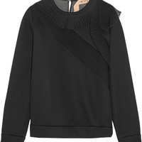 No. 21 - Silk chiffon-paneled modal sweater