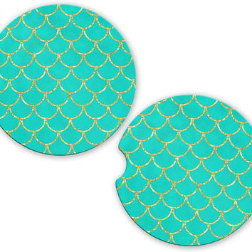 Mermaid Car Cup Coaster Teal Gold Scales, Personalized Monogrammed Cup Holder Coaster, Custom Auto Gift, Sandstone Coaster, gift for her