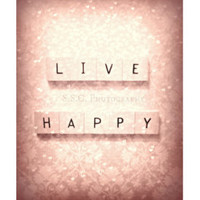 "Pink art print. Quote Photo ""Live Happy"" Girly. Sweet. gift. hearts. floral pattern. love. valentine's day. pink home decor. chic. vintage."