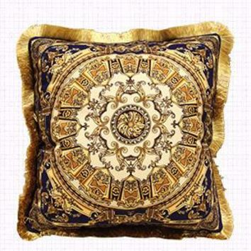 """Blue Gold Flower Pillow Embellished With Trim 20""""X20"""""""