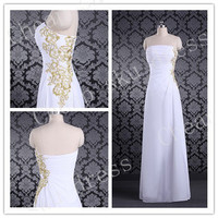 2014 A-line Strapless Floor-length Appliques embroidery Long Bridesmaid Dress Party Dress Evening Dress Prom Dress Formal Dress 2014