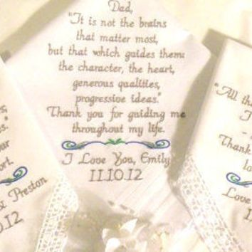 Family Personalized Set of 3 Wedding Hankerchiefs Mother & Father of the Bride In-Law Stepmother Sister Handkerchief By Canyon Embroidery