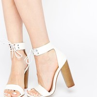 New Look Block Heel Lace Up Sandals