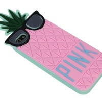 Suppion Hot Sale & Fruit Design Victoria Secret Lady Pineapple Skin Silicone Case Cover for Iphone 5 5g (pink)