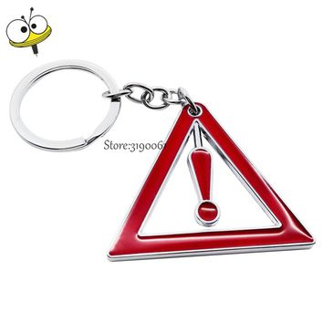 Creative Car Keychain Metal Key Rings Key Decoration Warning Pattern For Dodge Ford Citroen Toyota Honda Volkswagen Subaru Lexus