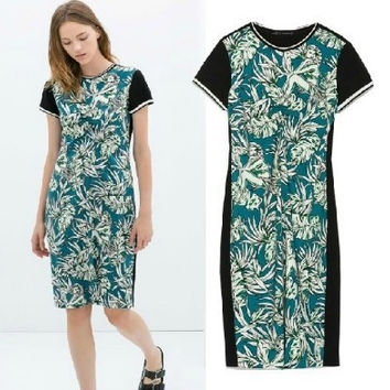 Summer Leaf Print Slim Short Sleeve Patchwork Dress One Piece Dress [5013253124]