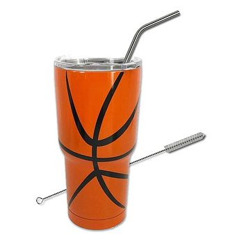 Sports Baseball Softball Soccer Basketball Tumbler Straw Cup with Cleaner