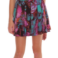 Emily Pleats Mini Skirt - Purple Print