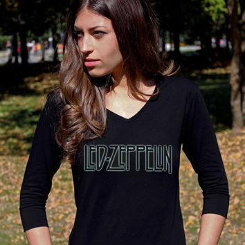 Led Zeppelin TShirt 3 Tee Shirt Hard Rock Heavy Metal Led Zeppelin Shirts 3/4 Raglan Long Sleeve Women V Neck T-Shirt