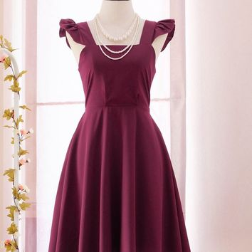 SALE Maroon dress solid Maroon dress vintage dress party dress bow back dress party prom dress tea dress Small size