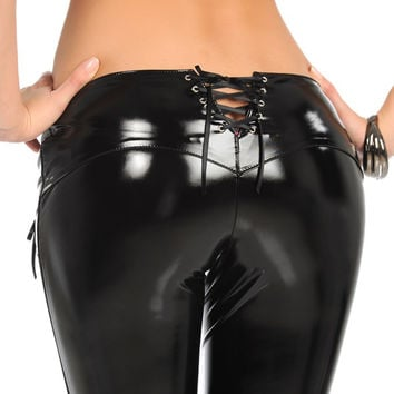 Sexy Latex Pencil Pants  New Faux MAT Leather Pants Low Waist