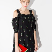 Black Cactus print dress