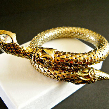 Snake Bracelet Mesh Coiled Gold Plated Rhinestone Vintage Scales